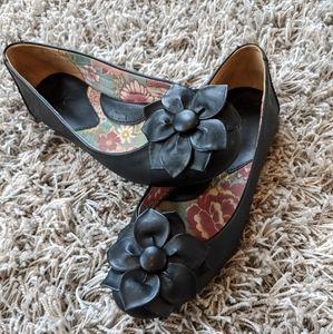 boc Black Leather Ballet Flats EUC